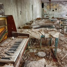 Music classroom in Pripyat school, Chernobyl